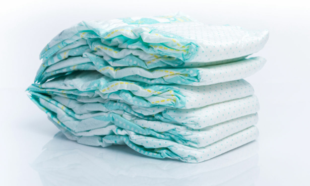 Pile of disposable nappies