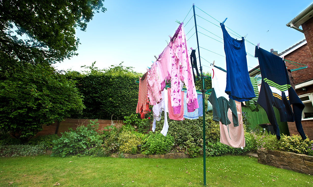 Drying washing outside saves energy