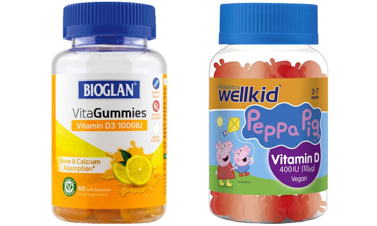 Bioglan and Vitabiotics Wellkid gummy and jelly vitamin D supplements