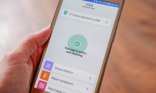 NHS app contract tracing on a phone screen