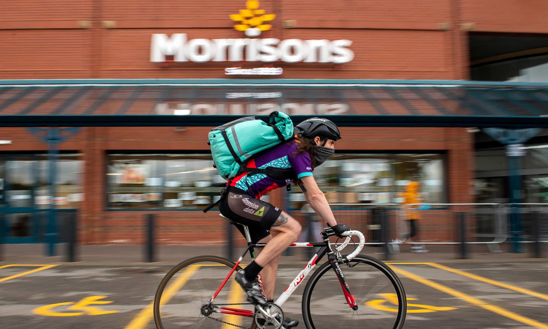 Deliveroo cyclist outside Morrisons
