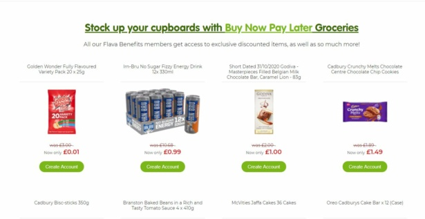 Flava BNPL website showing the range of groceries on offer