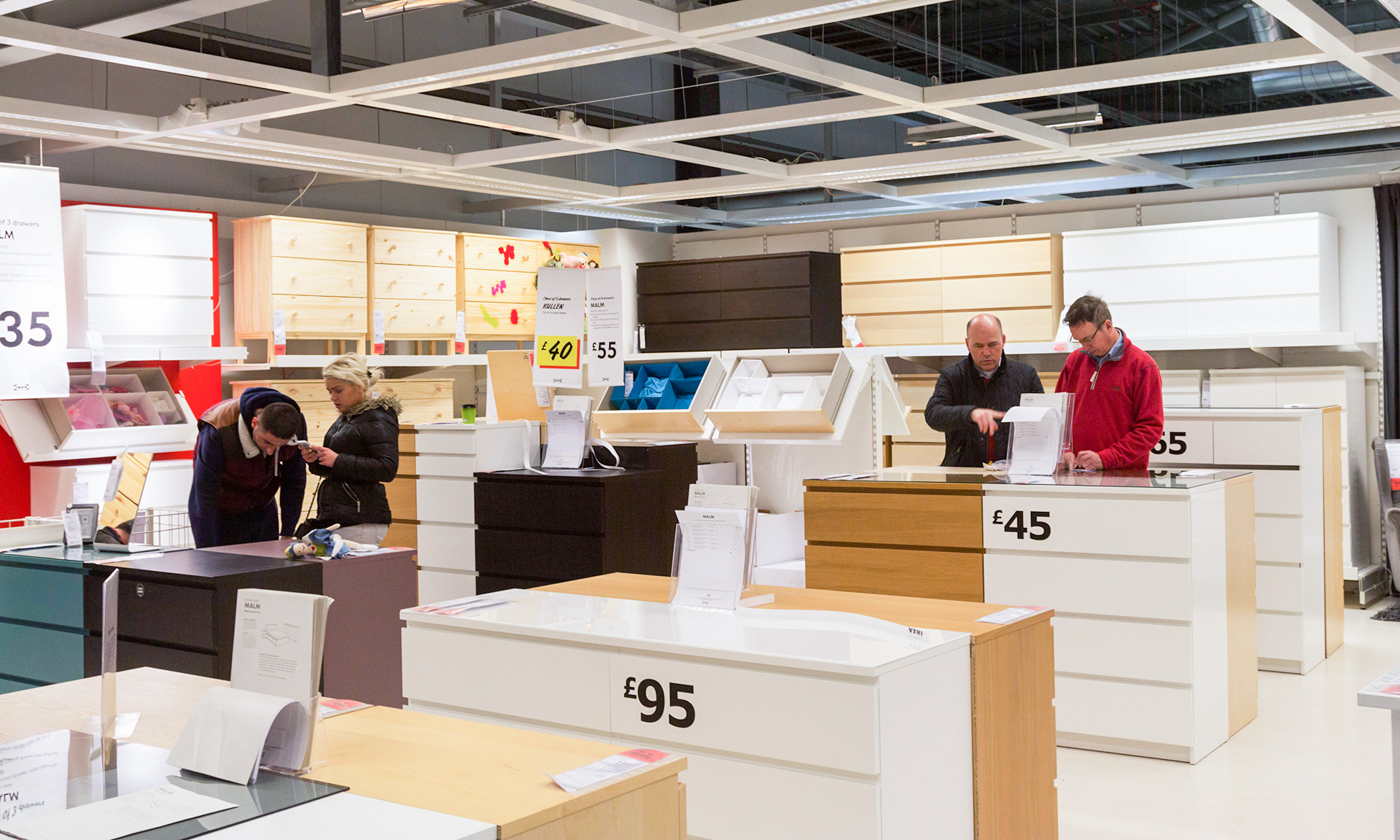 Customers looking at furniture in Ikea