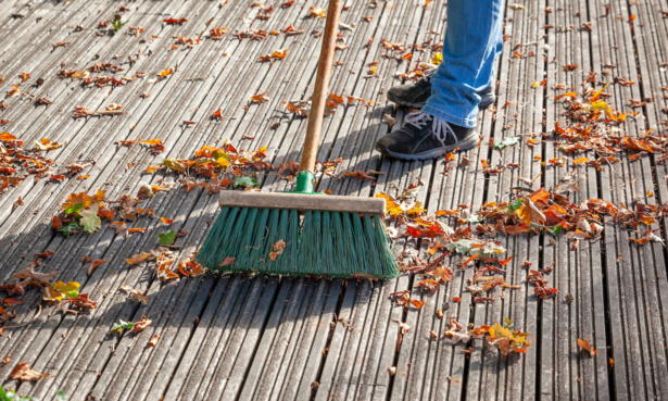 Sweeping up leaves