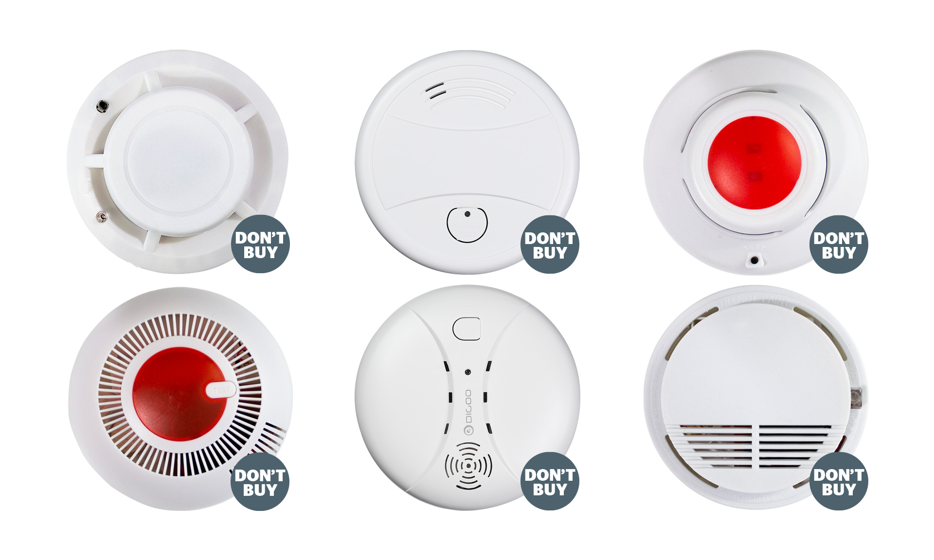 Six cheap and unbranded smoke alarms bought from online market places that are so bad at detecting smoke we made them Don't Buys
