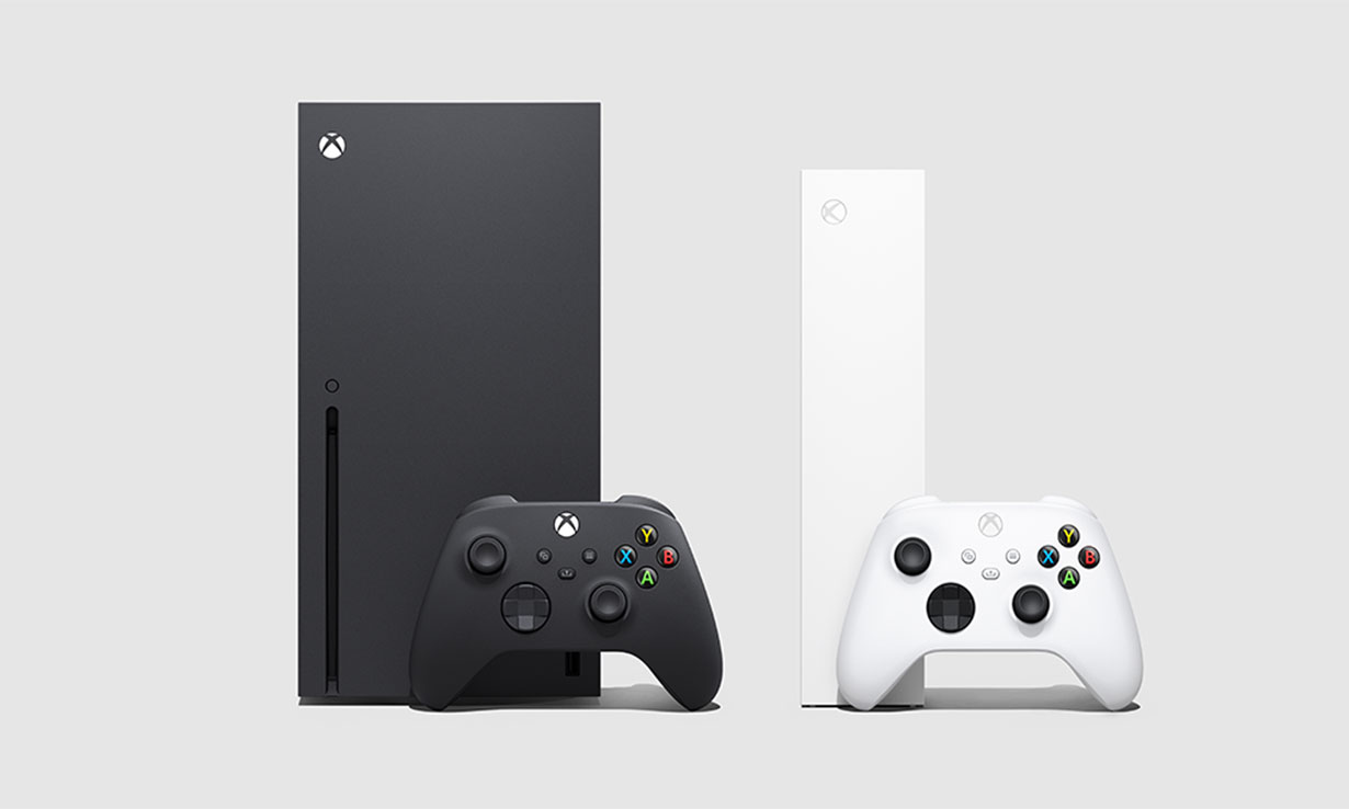 Xbox Series X and Series X side by side, with their new controllers