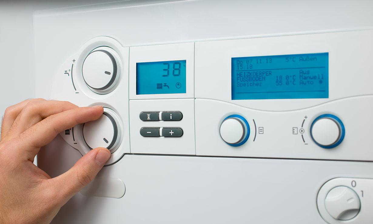 Adjusting settings on a boiler