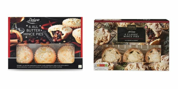 Boxes of Lidl and Aldi mince pies