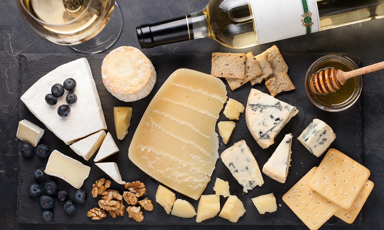 Wine with a cheese platter