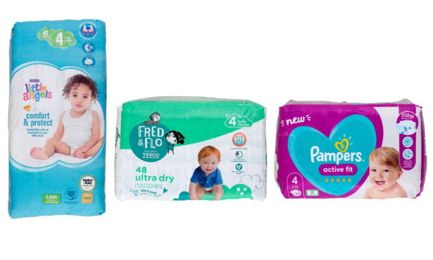 Asda, Tesco and Pampers Active Fit nappies