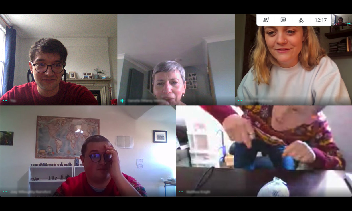 Which? staff playing Charades on a video call