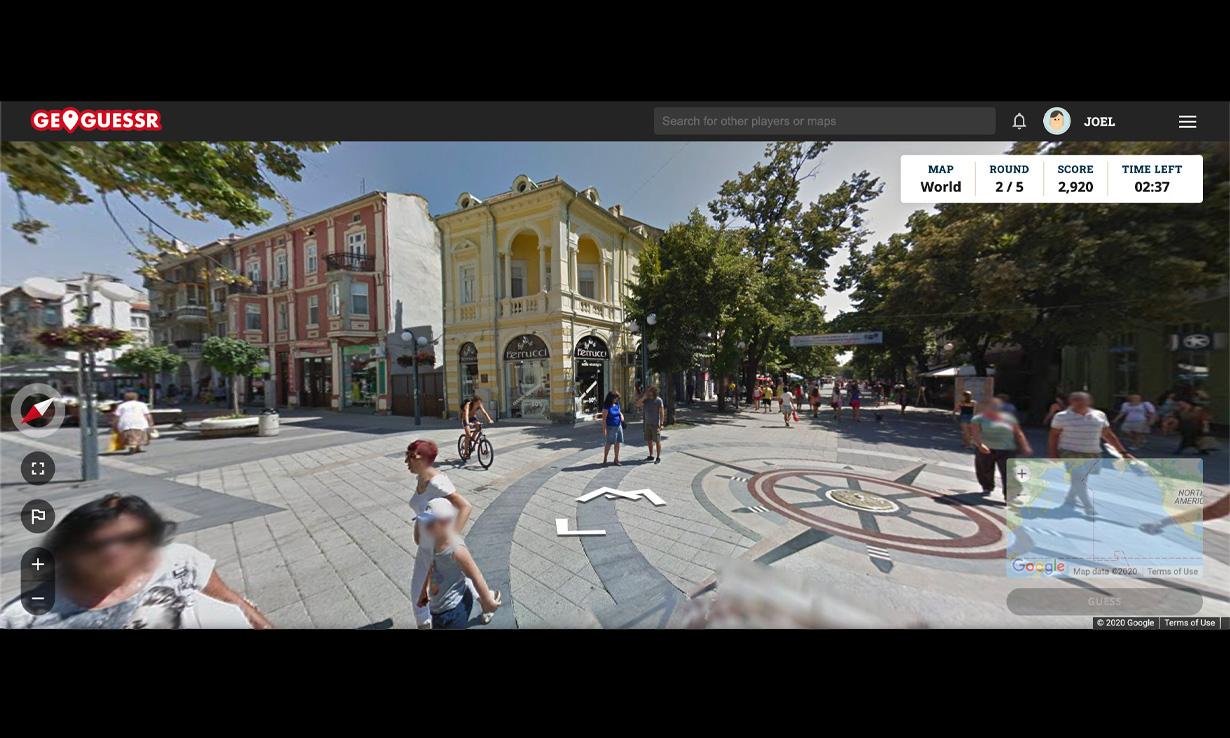 A screenshot from a random location in Geoguessr