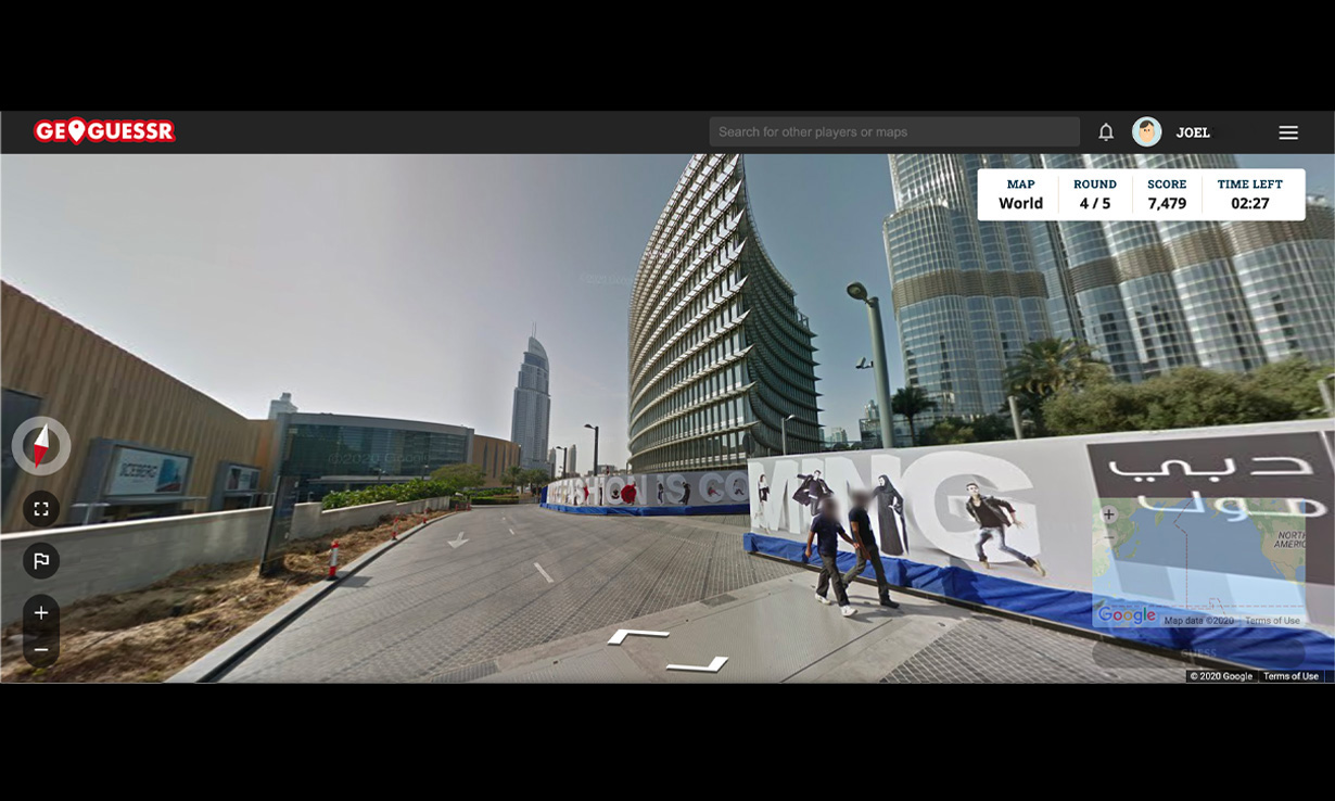 A screenshot from a city in Geoguessr