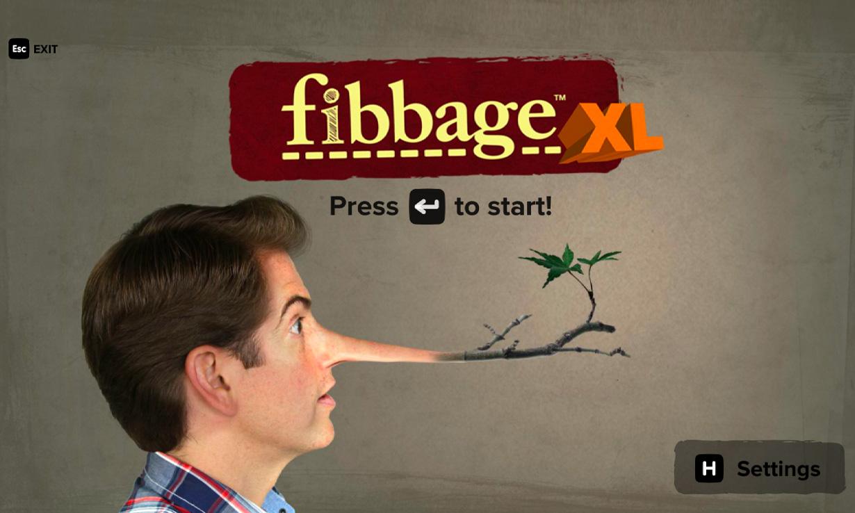 The main menu on Jackbox Games' Fibbage XL
