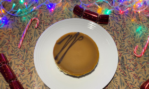 Morrisons The Best Salted Caramel Cheesecake on a Christmas table