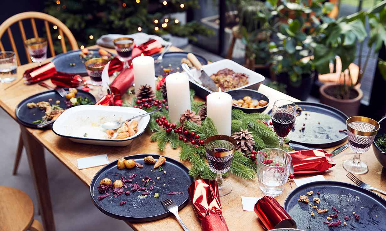 leftover food on a Christmas dinner table