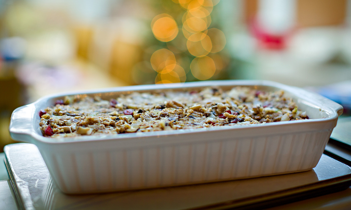 Nut roast as a vegan centrepiece for Christmas dinner