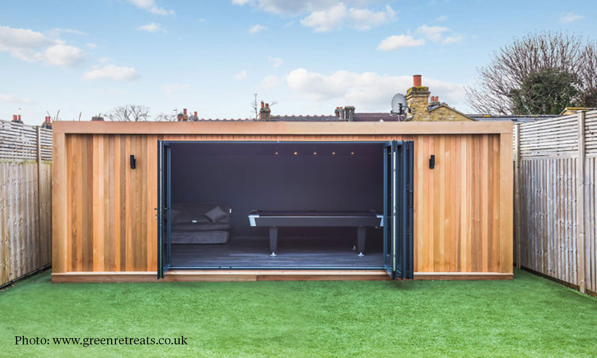 garden room with a pool table