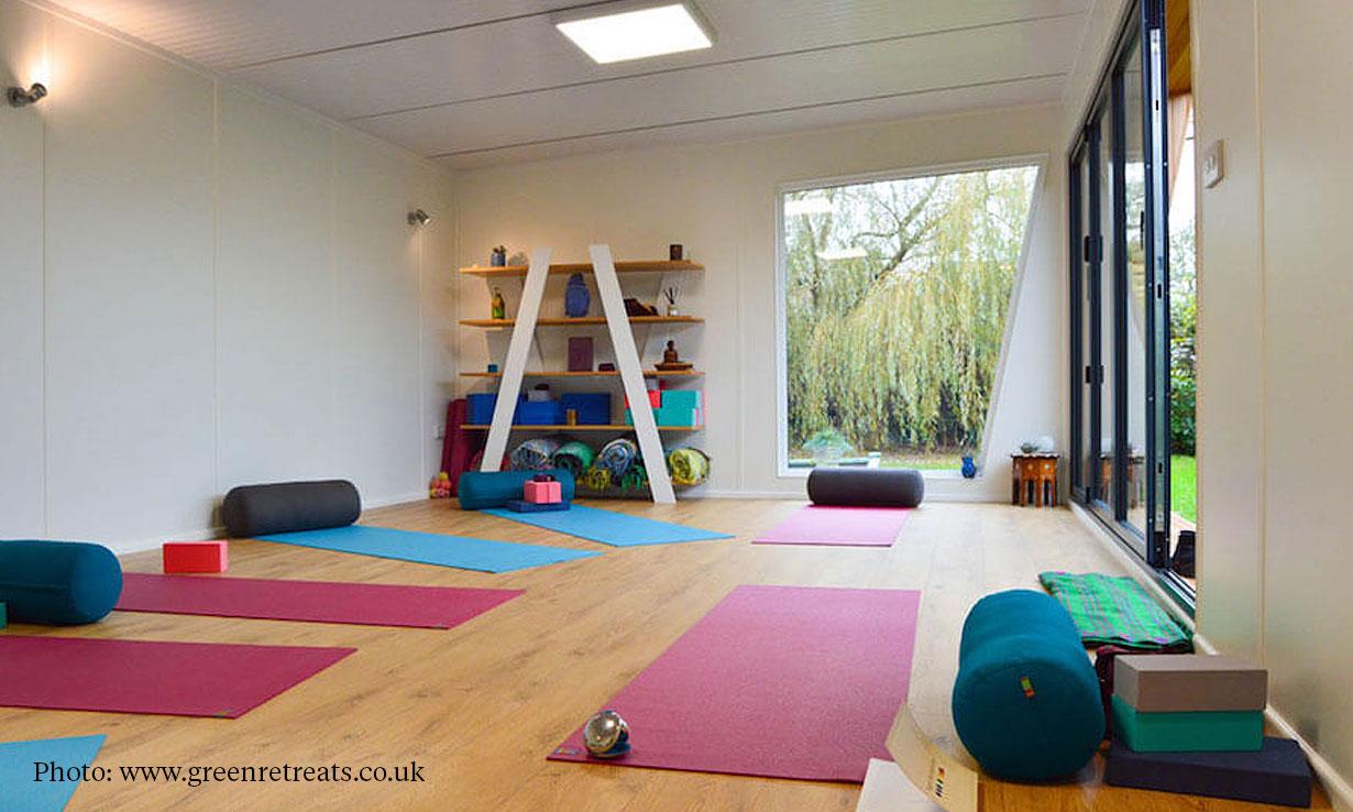 yoga studio in a garden room