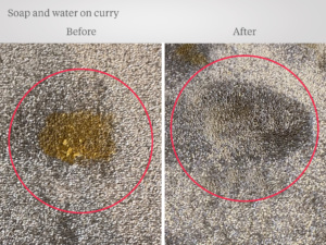 Washing up liquid on curry stain, before and after