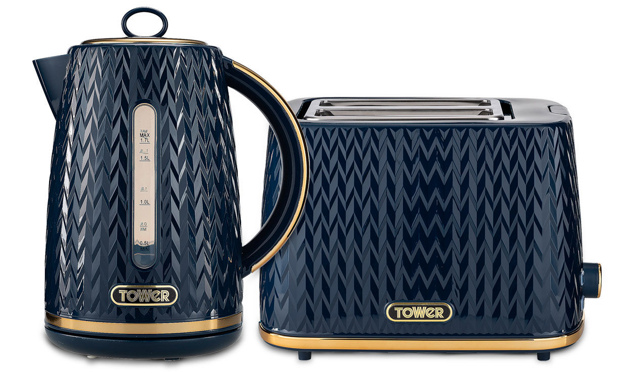 Tower Midnight Blue kettle and toaster