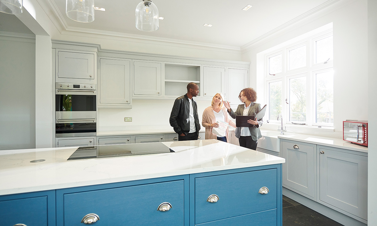 Couple in a kitchen design showroom