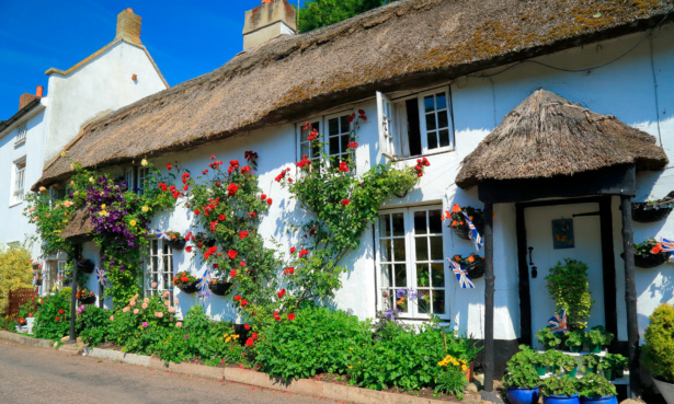 cottage with flowers and thatched roof
