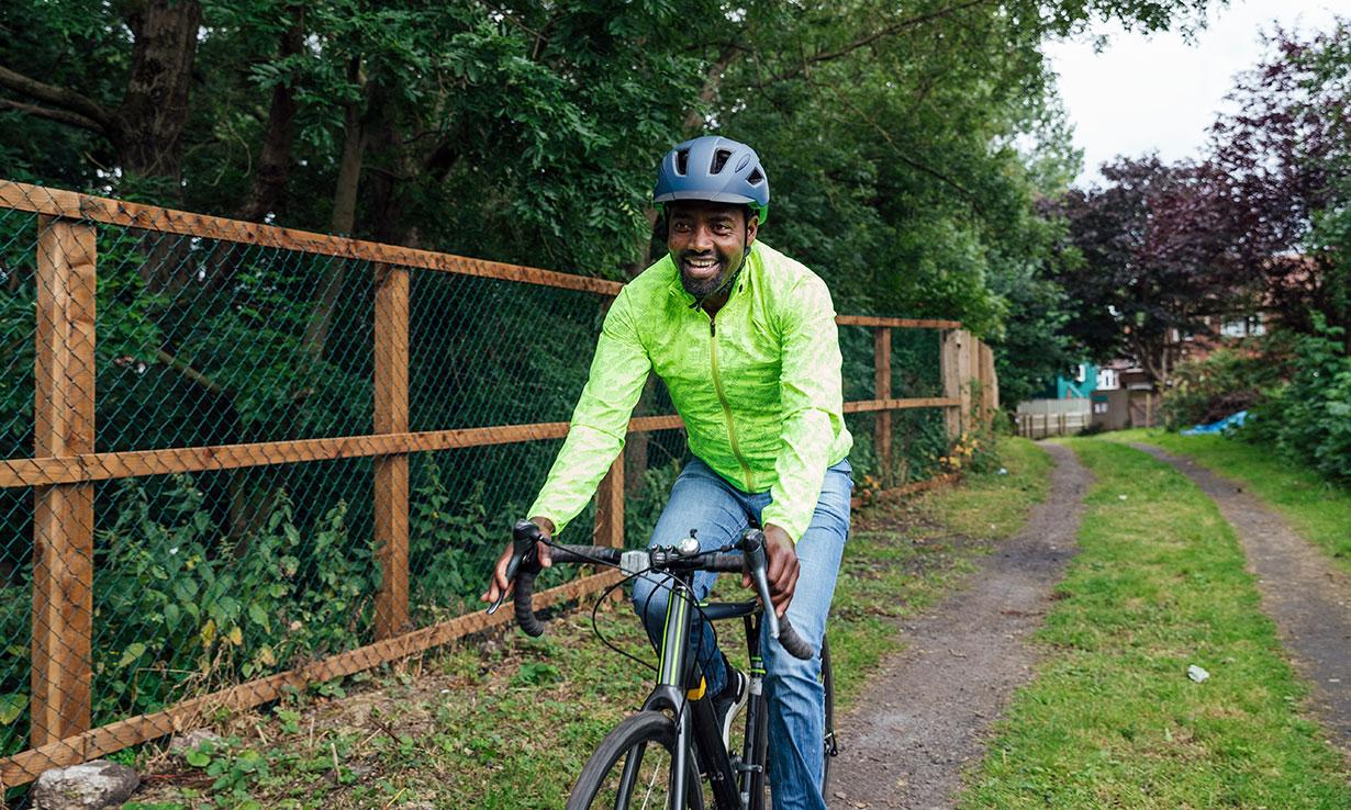 Man riding a bike outdoors