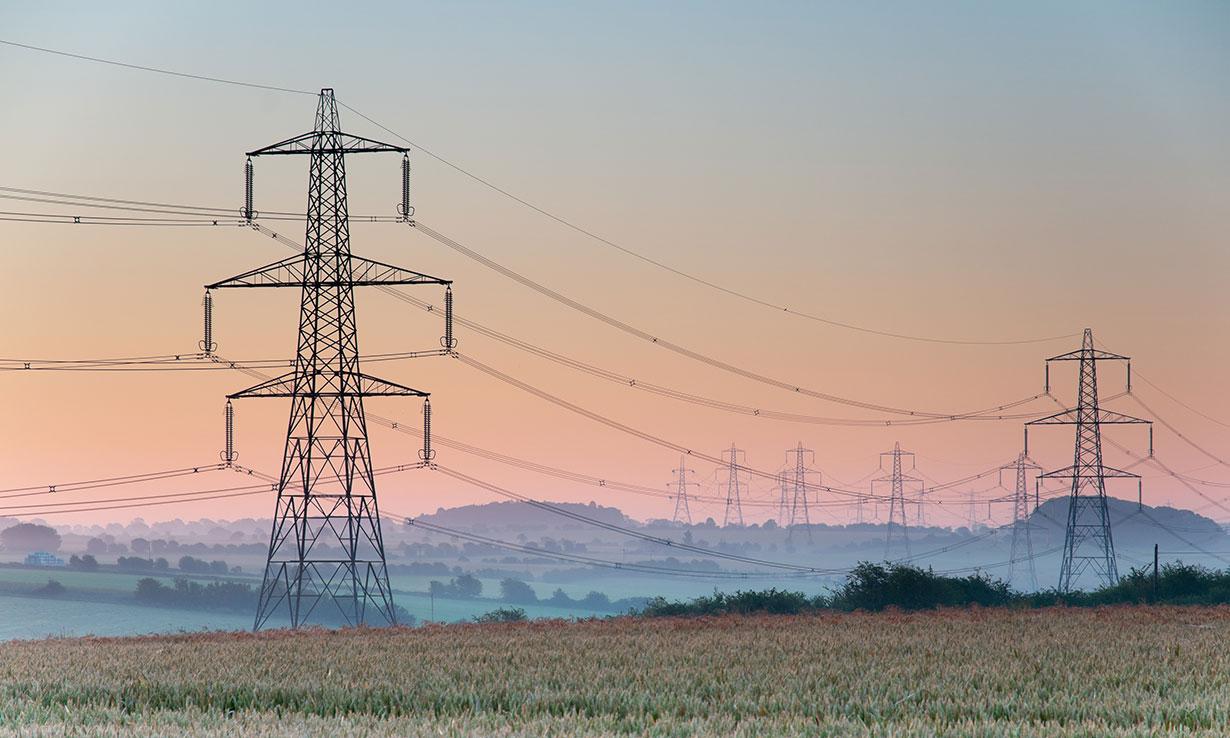 Energy pylons in the mist