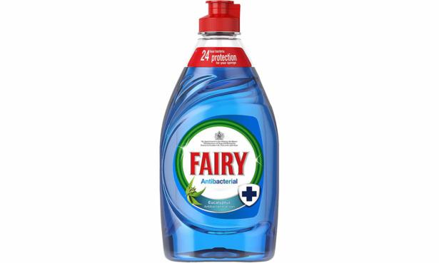 Blue antibacterial Fairy washing-up liquid