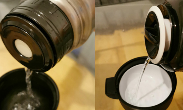 Button operated lid and twist and pour stopper comparison.
