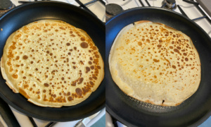 Shows evenness of cooking of two frying pans