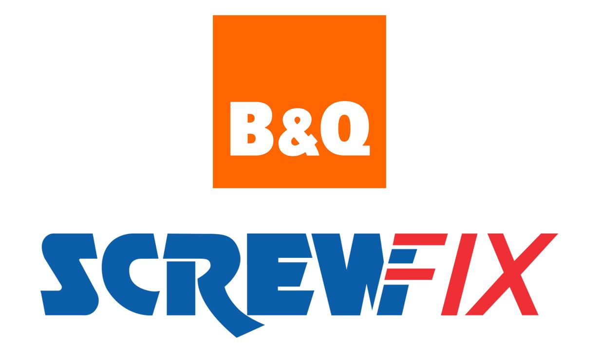 B&Q and Screwfix logos