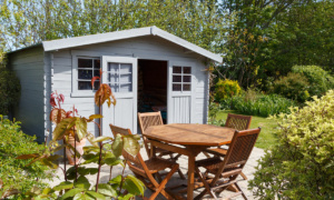 garden shed and table