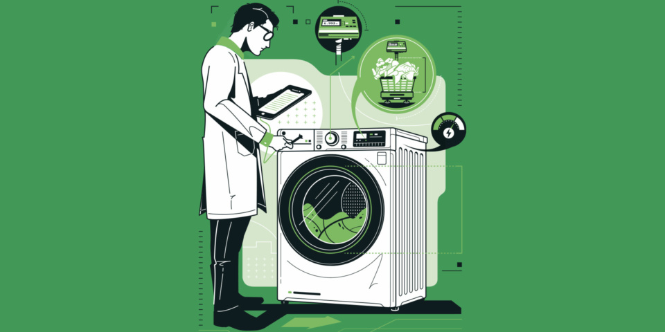 Graphic of a man in a lab coat standing by a tumble dryer. he's holding a clipboard and is observing the machine.