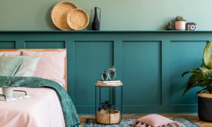 blue green wood panelling