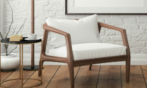 wooden chair with white cushion
