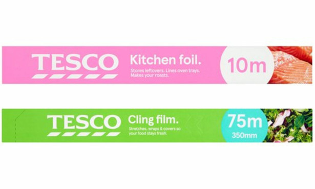 Tesco cling film and kitchen foil.