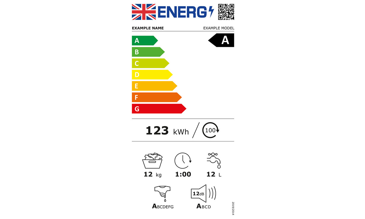 New washing machines energy label showing the coloured scale from A to G.