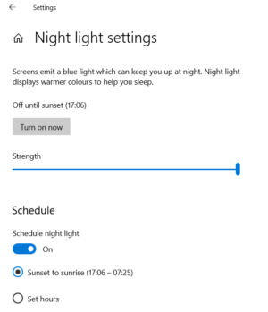 Windows 10 Night Light