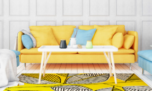 colourful sofa and decorations