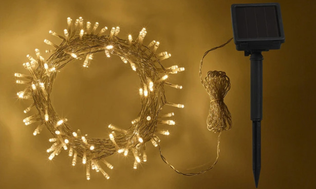 200 Warm White LED Solar Fairy Lights Clear Cable.