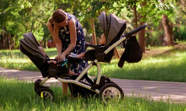 Babies in double pushchair