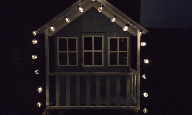 Habitat solar lights used to illuminate a childrens playhouse.