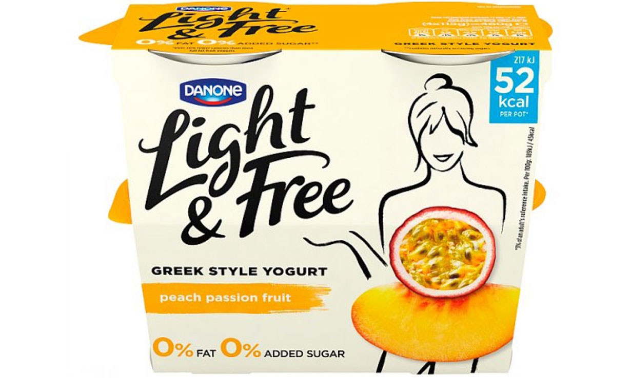 Light and Free Greek Style Yogurt in peach and passion fruit.