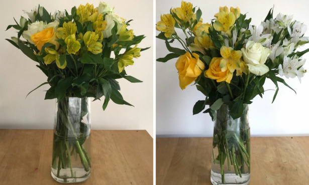 Marks and Spencer bouquet on arrival and after 5 days