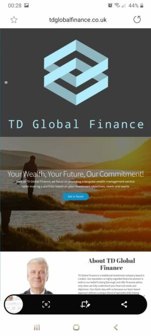 Screenshot of TD Global Finance cloned website