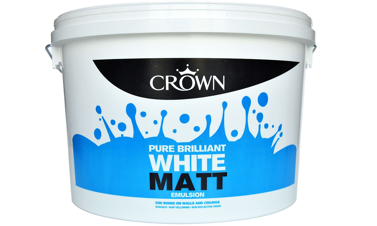Crown Paint pure brilliant white matt emulsion