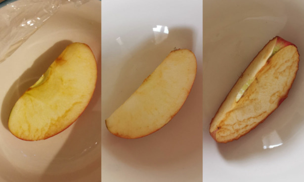Apple comparisons from the cling film covered apple and beeswax covered apple to the uncovered apple.