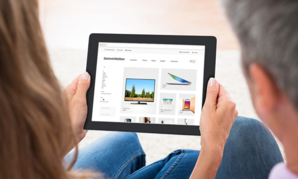 Shopping on tablet for a TV